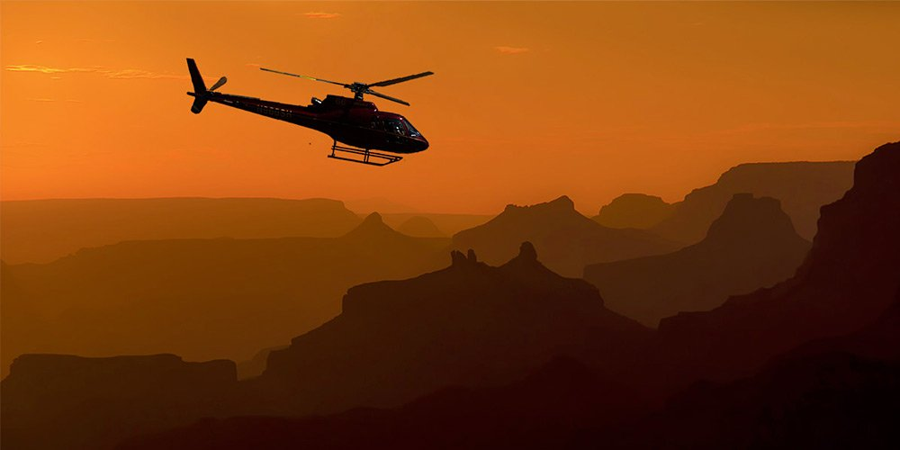 Grand Canyon West Rim Helicopter Flight with Floor Landing at Sunset