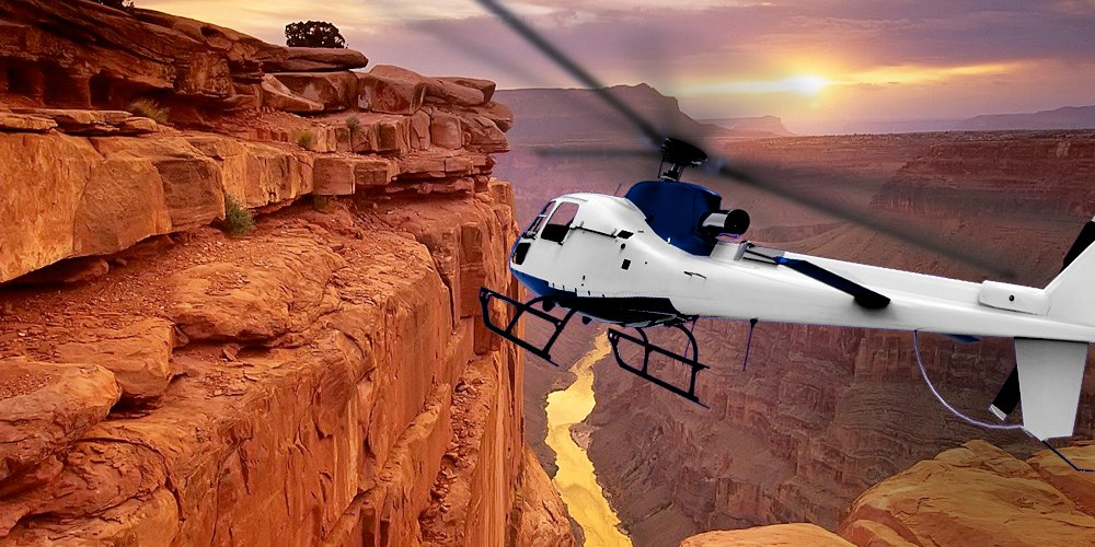 Grand Canyon West Rim Helicopter at Sunset
