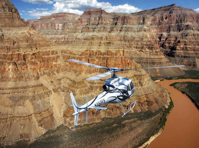 Above and below Grand Canyon helicopter flight